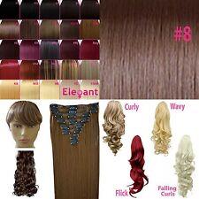 Fringe Bang Clip en extensiones del pelo Recto Color Chocolate # 8