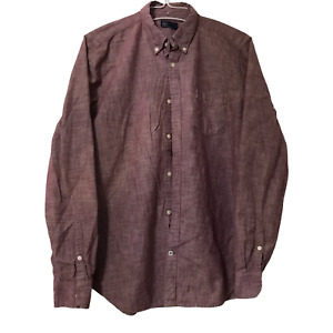 GAP Mens Large Red Long Sleeve Button Down Casual Dress Shirt Front Pocket