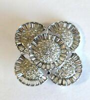 "Vintage Designer Weiss Faceted Rhinestone Silver Filigree Brooch Dress Pin  2"""