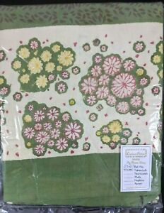 """New! COULEUR NATURE BRUNO LAMY TABLECLOTH 71"""" x 106"""" Flowers Earth Tones Green"""