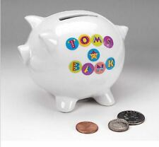 NEW WHITE PIGGY Bank Coin Money Collectible CERAMIC Savings Pig Toy Safe Box
