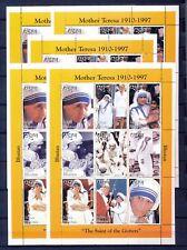 BHUTAN 97'Mother Teresa Lady Diana Pope John Paul Religion Sheet x 5 MNH DAB 687