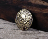 1-1/8'' Western Punk Leathercraft Concho Antique Brass Skull Snake Saddle Tack