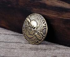 1-1/8'' Western Punk Leathercraft Concho Antique Brass Skull Snake Saddle Tack