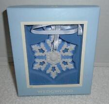 Wedgwood Pierced Snowflake Christmas Ornament Blue White Jasperware Mib
