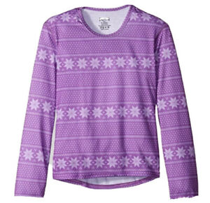 Hot Chillys Youth Pepper Skins Print Crewneck, Alpine Purple Size Small