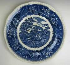 Adams China ENGLISH SCENIC BLUE SCALLOPED Dinner Plate(s) EXCELLENT