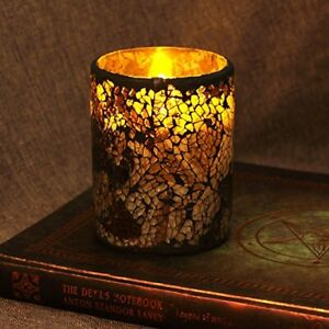 """Pillar Led Candle With Timer, 3X4"""",Cracked Glass Design,Party,Safe & Clean,Brown"""