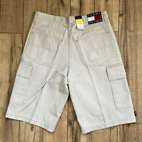 Vintage 90's Tommy Hilfiger Mens Beige Denim Cargo Shorts Size 34 NWT Big FLAG