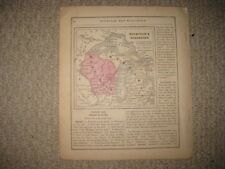 ANTIQUE 1868 MICHIGAN WISCONSIN HANDCOLORED HANDCOLORED MAP NORTHERN PENINSULA