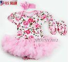 3PCS Newborn Baby Girl Outfits Clothes Romper tutu Dress Jumpsuit Bodysuit Set