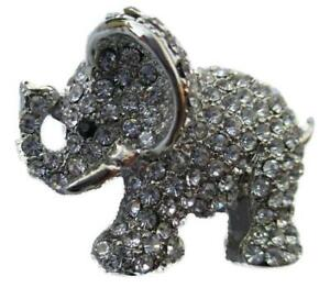 New On Card Silver Metal Elephant Clear Crystal Encrusted Brooch Approx 2inx1in