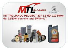 KIT TAGLIANDO PEUGEOT 307 1.6 HDI 110 80kw da: 02/2004 con olio total 5W40 4LT