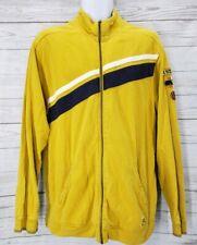 Disney Full Zip Jacket Sz Large Men Yellow Blue Stripe Logo Long Sleeve
