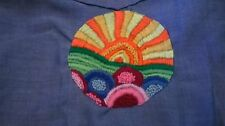VTG NEW 60's Rock! Sears Blue/Western/Flowers & Sun Embroidery Chambray Shirt S