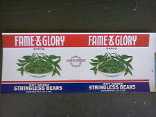 5 Vintage STINGLESS BEANS CAN LABELS FAME & GLORY BRAND UNION MILL,MD. Mint