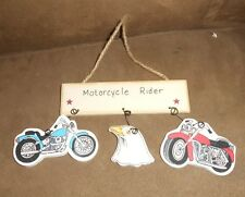 Wooden Motorcycle Rider Christmas Holiday Ornament / Wall Decor  - Very Good