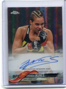 2018 Topps UFC Chrome AMANDA NUNES Refractor On Card Autograph Auto #FA-AN