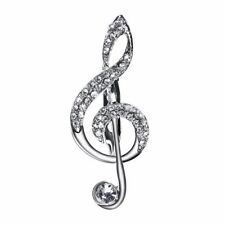 New Crystal Music Note Clef Suit Clothing Brooch Pin Unisex Casual Free Gift Bag