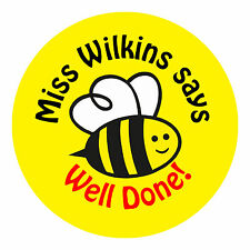 80 Personalised Teacher Reward Stickers for Pupils Well Done BEE Yellow