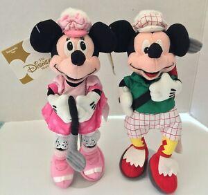 """Disney Golfer Minnie & Mickey 8"""" Bean Bag Plush Toy Golf NWT NEW Vintage"""