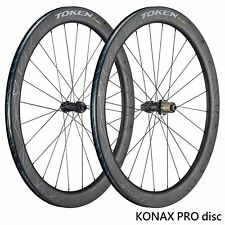 TOKEN KONAX PRO Disc Brake Carbon Clincher/Tubeless Wheelset for Road Bike, 700c