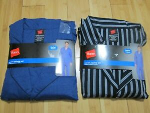 new 2 HANES Men's 2XL XXL 2-pieces woven pajama set BLUE solid & BLACK stripes