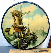 Mary Lincoln Candies Tin, 8.5 inches wide, Windmill & Canal Scene, Great graphic