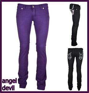 pantaloni jeans donna angel devil a zampa vita bassa elasticizzati bootcut 40 42