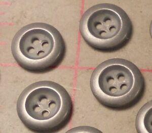 """24 Vintage 4 Hole Deep Set Metal Buttons Matte Silver 5/8"""""""