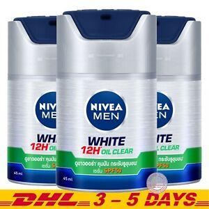 NIVEA MEN Anti Oil + White : Skin Whitening Facial Serum SPF50 , 50ml x 3