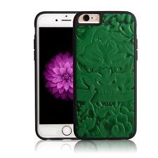 iPhone 6/6S Plus Case PU Leather Carving Art Beautiful China Totem Jade Green
