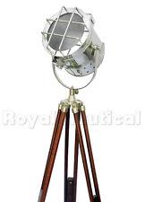 Nautical Wooden Spotlight Marine Floor Lighting Lamp Wooden Tripod Stand Decor