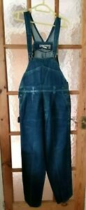 """PIROSSI Blue Denim Dungarees Overalls Size L - Waist Up To 30"""" Leg: 28"""""""