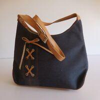 Sac à bandoulière femme bleu marron ville vintage design XXe France N3703