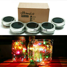Solar 10LEDs Fairy Light Solar Mason Jar Lid Lights Color Changing Garden Decor