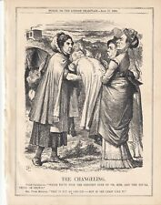 1869 Punch Cartoon Irish Church Bill Changeling Canterbury & Prome Minister