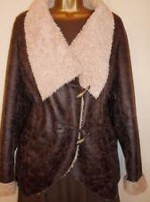 S.Oliver Brown Faux Leather Cream Sheepkin Jacket EU 40 UK14