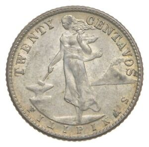 Roughly Size of Nickel 1944 Philippines 20 Centavos World Silver Coin *678