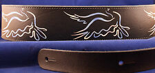 "Black Leather Christian Guitar Strap, 2 1/2"" Wide, Doves  New!"