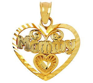 14k Yellow Gold Mommy Charm Open Heart Pendant Mother's Day Gifts Made in USA