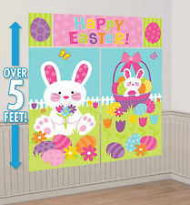 EASTER BUNNY Scene Setter HAPPY EASTER party wall decoration kit 5' eggs basket
