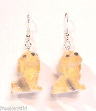"""Cocker Spaniel Dogs Puppies 1"""" Mini Figures Fuzzy w/ Flocking Dangle Earrings"""