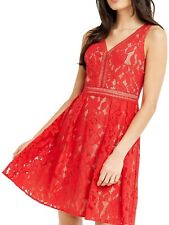 Oasis Red Nude Lace Skater Dress - Size 8 - BNWT - Wedding/Races/Christening
