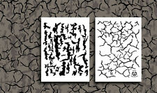 "2PACK Vinyl Airbrush Spray Stencils 10Mil 14"" Camouflage Tree Bark Cracked Earth"