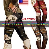 Womens Girls Christmas Deer Print Stretch Pants Sports Leggings Funny Trousers