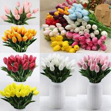 10Pcs/Lot Tulip Artificial Flower Pu Bridal Wedding Bouquet Home Decor Tkl