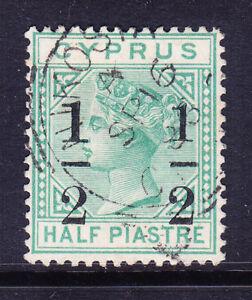 CYPRUS QV SG29a 1/2on1/2p emeraid-grn wmk Crown CA large 1 at left v/f/u cat£275