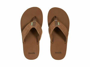 Men Sanuk Beer Cozy Stacker Suede Flip Flops Sandal 1119338 Brown 100% Original