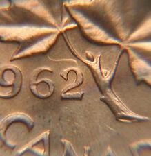 1962 CANADA Elizabeth II Coin One Cent 1¢ - hanging 2 variety - fingerprint tone
